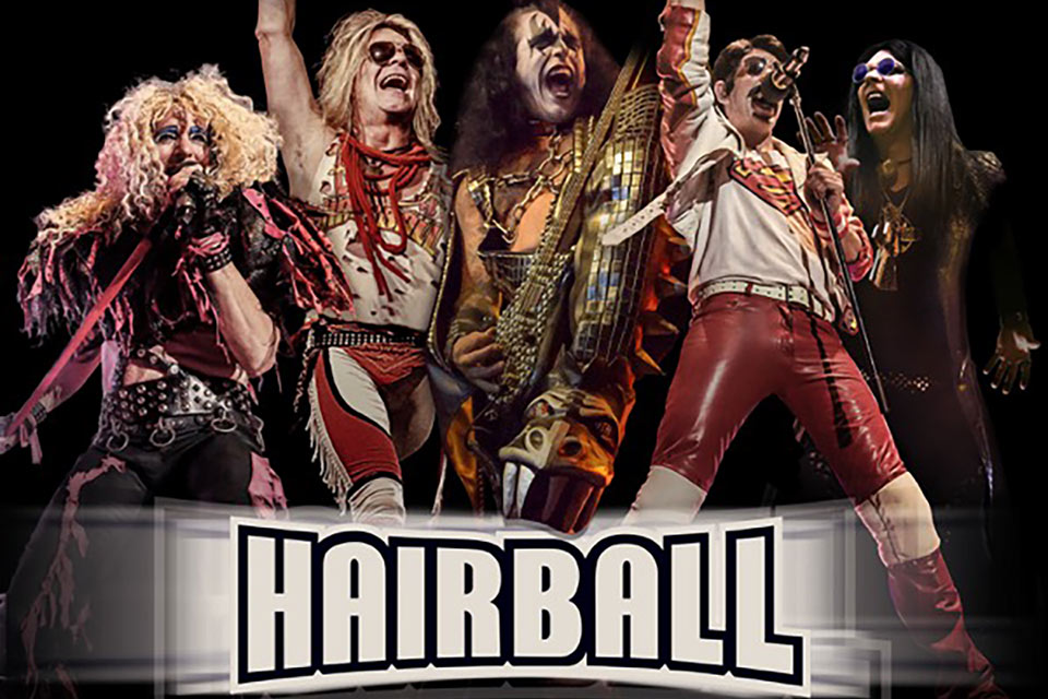 members of Hairball depicting Van Halen, KISS, Queen, and other acts